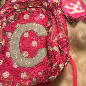 Girls Justice pink & white flip sequence backpack